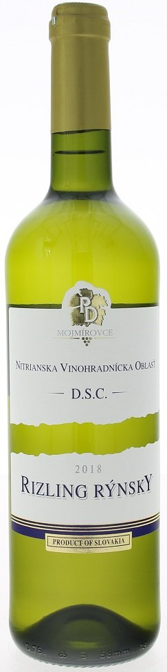 PD Mojmírovce Rizling rýnsky 0,75L, r2018, vin, bl, su