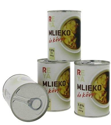 Reya Mlieko do kávy 410gr., zahustené nesladené mlieko 0,41L, ko