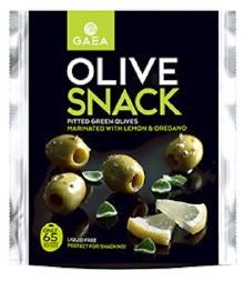 GAEA Olivový snack - zelené olivy bez kôstky s citrónom a oregánom, 65g,,ochr