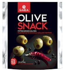 GAEA Olivový snack - zelené olivy bez kôstky s čili a čiernym korením, 65g,,ochr