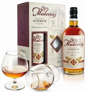 Malecon Reserva Superior 12YO 40%, s 2 pohármi 0,7L, rum, DB