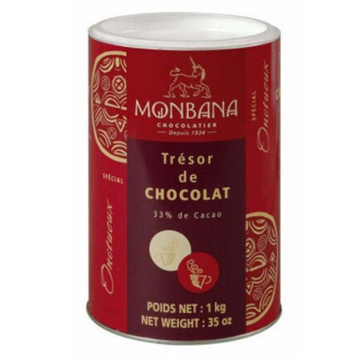 Monbana Tresor de Chocolate 33% Cacao, horúca čokoláda v prášku, 1 kg,tuba