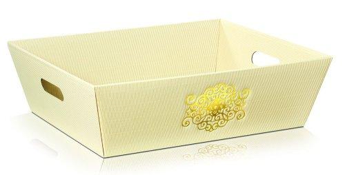 Darčekový kôš Signum 4-uholník,  krémový so zlatým vzorom - veľký: 435x340x130mm