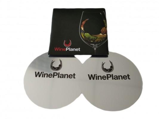 Vínna nálievka s logom Wineplanet - 2 kusy v balení, čierny obal