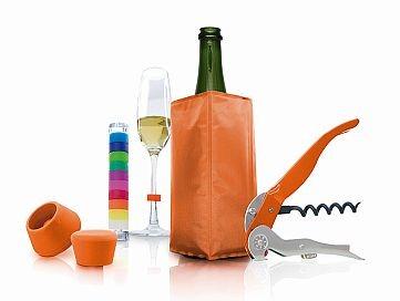 Pulltex Oranžový Starter Set Wine&Sparkling - vývrtka,silikónový stoper na víno a šampanské, chladiace vrecko, identity