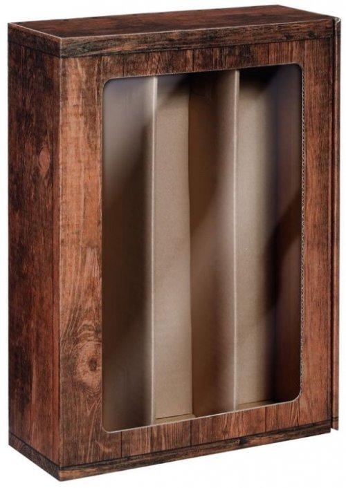 Darčeková krabica VINTAGE s okienkom na 3 fľaše, 360x250x95 mm