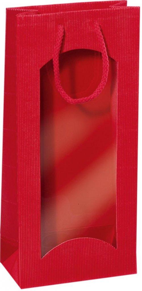 Darčeková taška červená s okienkom na 2 fľaše 170x85x360mm