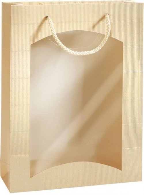Darčeková taška krémová-zlatá s okienkom na 3 fľaše 270x85x360mm