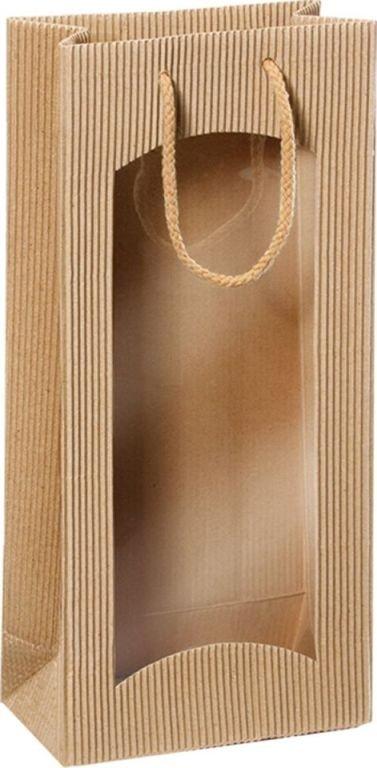 Darčeková taška natur s okienkom na 2 fľaše 170x85x360mm