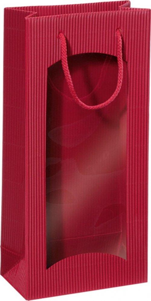 Darčeková taška bordová s okienkom na 2 fľaše 170x85x360mm
