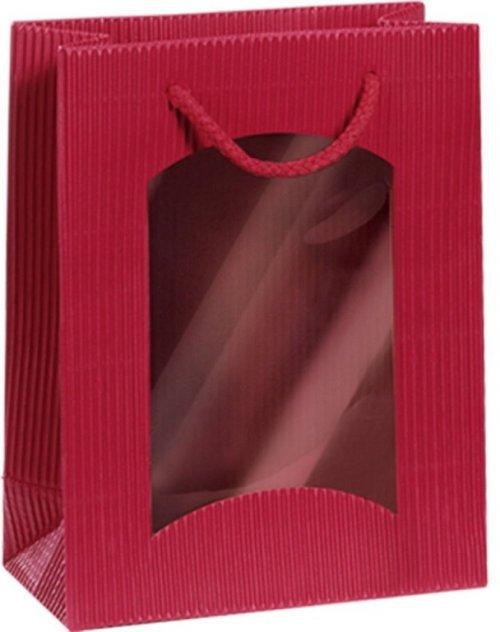 Darčeková taška bordová Mini s okienkom na 1 fľašu 170 x 85 x 220 mm