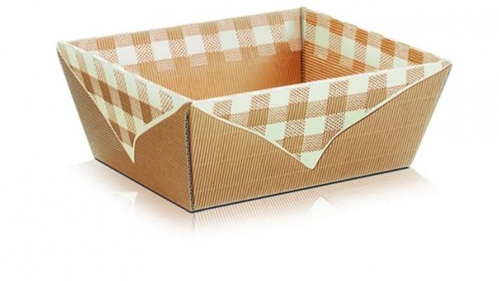 Darčekový kôš Picknick 4-uholník, natur s krémovým károm - malý