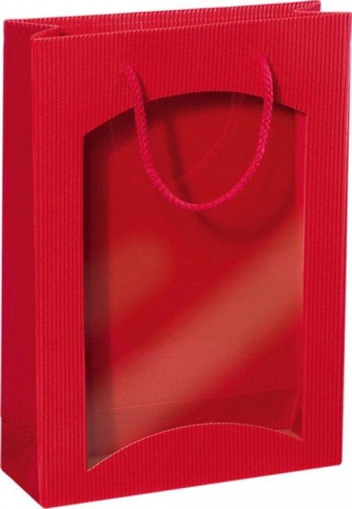 Darčeková taška červená s okienkom na 3 fľaše 270x85x360mm