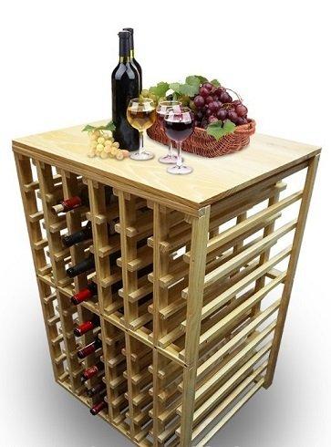 Wineplanet drevený stojan na víno / degustačný stolík MH-20150713 na 54 fliaš
