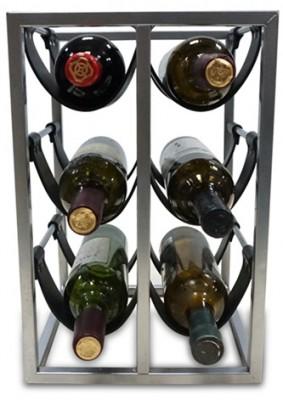 Wineplanet kovový stojan na víno MH-201402211a  s PU kožou na 6 fliaš