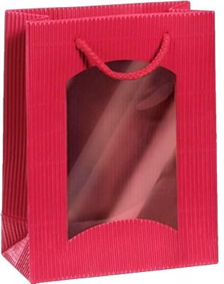 Darčeková taška červená Mini s okienkom na 1 fľašu 170 x 85 x 220 mm